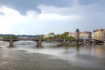 Jiraskuv bridge on Vltava river