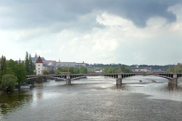 The view of Vltava river on Jiraskuv bridge