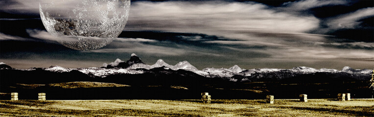Montana Mountains and Farm
