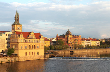 The view of Smetana Museum and rift of Vltava river in Prague