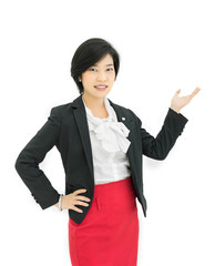 Asian businesswoman is presenting in white background