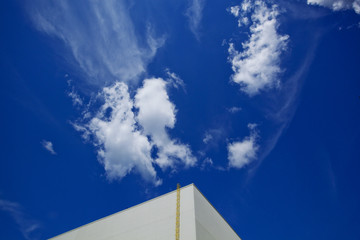 Industrial Abstract of a Building and Blue Sky