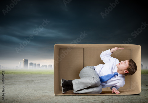 canvas print picture Man in box