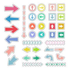 シール風 矢印アイコンセット / vector eps10