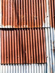 Rusty corrugated metal wall