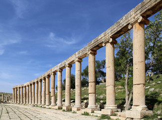 Forum (Oval Plaza)  in Gerasa (Jerash), Jordan.