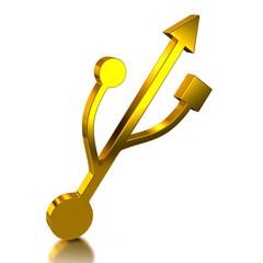 Golden usb icon