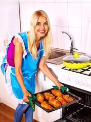 Woman bake cookies