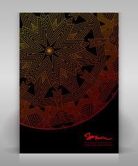Black flyer with geometric decoration.