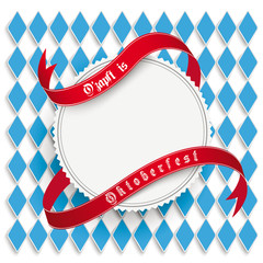 Munich Oktoberfest White Round Prongs Emblem