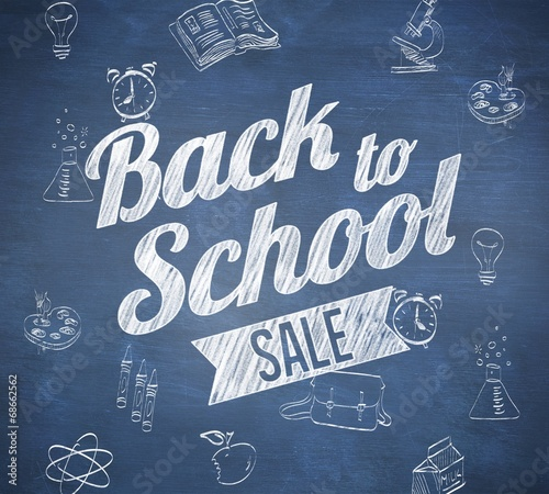 canvas print picture Composite image of back to school sale message
