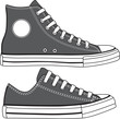 Set of high and low sneakers drawn. Vector - 68662776