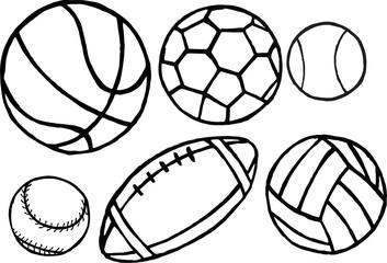Set of different sport balls. Vector