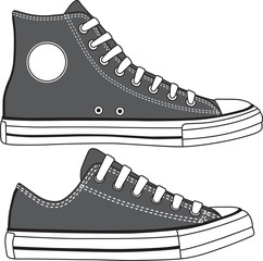Set of high and low sneakers drawn. Vector