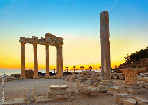 Old ruins in Side, Turkey at sunset - 68662766