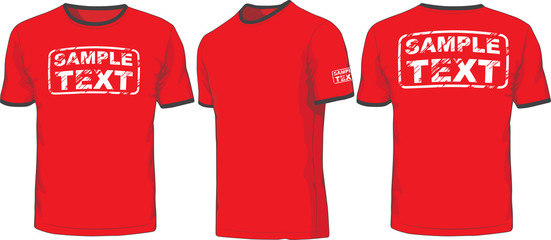Front, back and side views of t-shirt. Vector