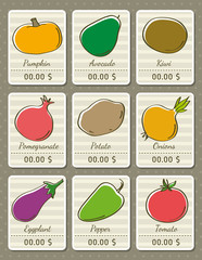 set of labels with organic vegetables, vector illustration