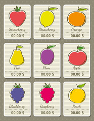 set of labels with organic fruits, vector illustration