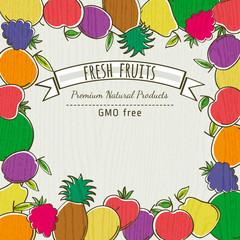 frame of organic fruits, vector illustration