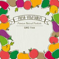 frame of organic vegetable, vector illustration