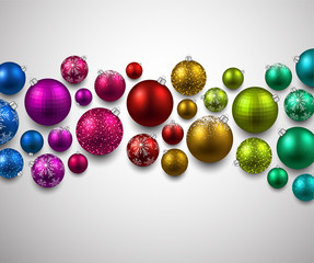 Gift card with colorful christmas balls.