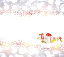 Silver christmas background with gifts.