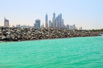City view from public beach in Dubai, UAE