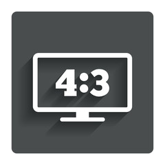 Aspect ratio 4:3 widescreen tv. Monitor symbol.