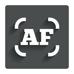 Autofocus photo camera sign icon. AF Settings.