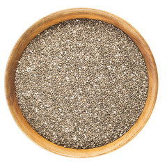 Chia Seeds in Bowl Isolated.