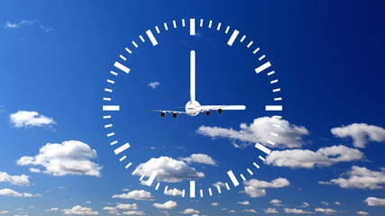 Clock Time Lapse with cloud and sky airplane