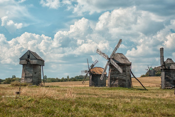 Old wooden windmills.