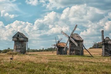 Old wooden windmills.