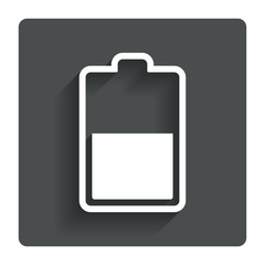 Battery half level sign icon. Low electricity.