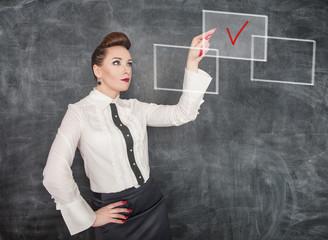Business woman making choice