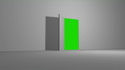 Door open with green screen