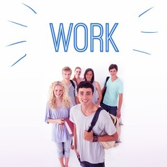 Work against smiling students