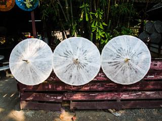 Rice paper umbrellaes dried in nature