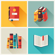Set of book icons in flat design style. - 68664502