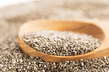 Dark Chia Seeds On Wooden Spoon