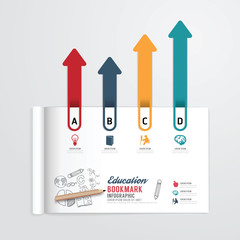 infographic book open with bookmark arrow concept education.