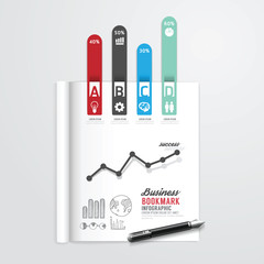 infographic book open with bookmark arrow concept business.