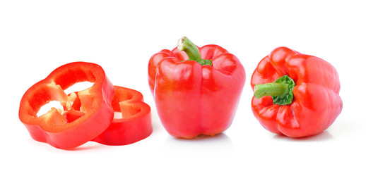 sweet red pepper isolated on white background