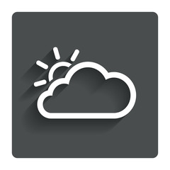 Cloud and sun sign icon. Weather symbol.