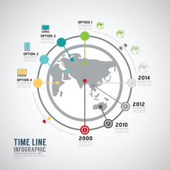 Timeline Infographic world vector design template.