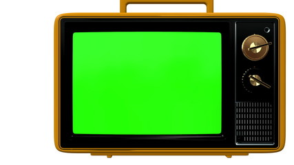 old tv with green screen