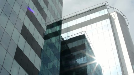 modern building - glass - with sun