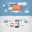 Flat design concepts for mobile app and website development