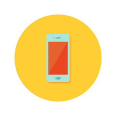 Smartphone icon over orange
