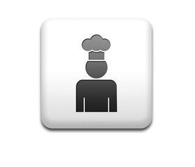 Boton cuadrado blanco 3D simbolo chef